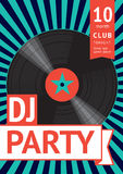 Party vintage poster. Disco party vintage poster with a vinyl record stock illustration