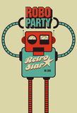 Party vintage poster with retro robot. Vector illustration. Royalty Free Stock Photos