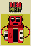 Party vintage poster with retro robot. Vector illustration. Royalty Free Stock Image