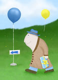 Party Walk. Illustration of a friendly, cute character carrying a gift and following balloons to a party Stock Image