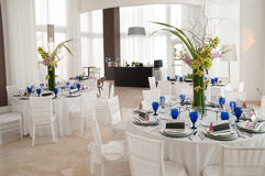 Party in white. Tables set for a birthday party with hors d'oeuvres at a Hotel in Hollywood Fl Royalty Free Stock Photo