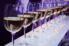 Party white wine glasses royalty free stock image