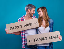 Party wife against family father different ideas and wants royalty free stock photography