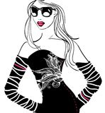 Party woman. Illustration of a very pretty woman Stock Photos