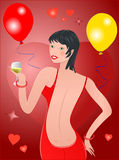 Party woman. On red background ,vector Stock Photography