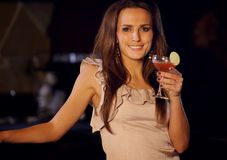 Party Woman with a Glass of Wine Royalty Free Stock Photography