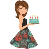 Party woman with birthday cake Royalty Free Stock Photos