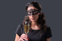 Party woman holding glass with champagne Royalty Free Stock Photography