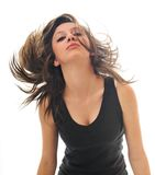 Party woman isolated with wind in hair Stock Photos