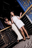 Party women. Two glamorous young women standing near a railing drinking champagne, at a party Royalty Free Stock Photography