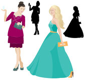 Party women in dress vector Stock Photography