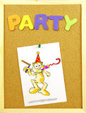 Party word on a corkboard Royalty Free Stock Photo