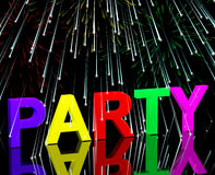 Party Word With Fireworks. Showing Clubbing Nightlife Or Discos Royalty Free Stock Image