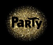 Party word, glitter banner with typography. Golden sparkles on black background. Royalty Free Stock Images