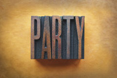 Party. The word PARTY written in vintage letterpress type royalty free stock image