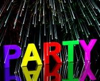 Party-Wort mit Feuerwerken Lizenzfreies Stockbild