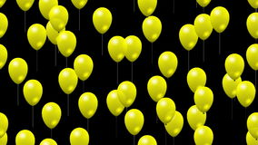 Party yellow balloons generated seamless loop video with alpha stock footage