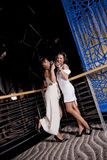 Party young women. Two glamorous young women posing near a railing drinking champagne, at a party Royalty Free Stock Images