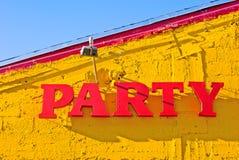 Party-Zeichen Stockfoto