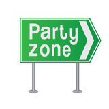 Party zone text on a road sign Stock Image