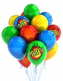 Partyballone über Weiß Lizenzfreie Stockfotografie
