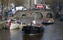 Partyboats in Amsterdam Stock Photography
