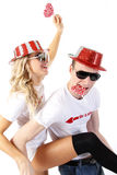 partying пар счастливый Стоковое фото RF