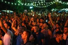 Partying толпы музыкального фестиваля лета на открытом воздухе стоковое фото rf