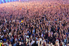 Partying crowd at a concert Royalty Free Stock Photo