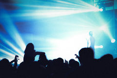 Partying crowd at a concert. Partying crowd at a live electronic dance music concert Royalty Free Stock Photos