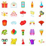 Partying icons set, cartoon style Royalty Free Stock Photo