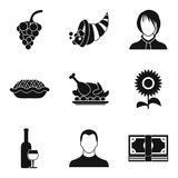 Partying icons set, simple style Royalty Free Stock Photos