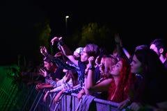 Partying Menge im goldenen Kreis an einem Konzert Stockbild