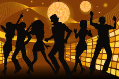 Partying people. A  silhouette illustration of young people partying and dancing in a disco club Royalty Free Stock Image