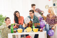 Partying With Wine And Guitar Stock Photography