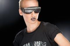 Partyjna chłopiec w świetlicowych szkłach Fotografia Stock