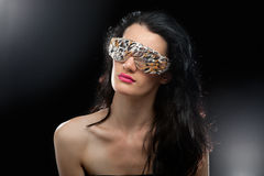 Partyjna dziewczyna w świetlicowych szkłach Obrazy Stock