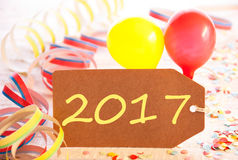 Partyjna etykietka, balon, Streamer, tekst 2017 Zdjęcia Royalty Free