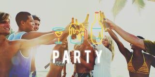 Partyjna nocy życia zabawa Cieszy się pojęcie obrazy royalty free