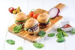 Partyjna wołowina hamburgerów suwaków część Fotografia Stock