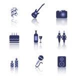 Partyjne ikony wakacje i urodziny przedmioty Zdjęcia Royalty Free