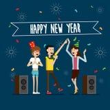 Partyjnego karaoke nowego roku szczęśliwi ludzie i odświętność wakacje Zdjęcie Royalty Free