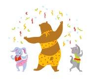 Partyjni dancingowi zwierzęta wektorowi zdjęcia stock