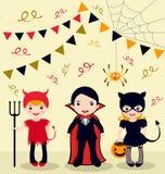 Partyjni Halloween dzieciaki Zdjęcie Royalty Free