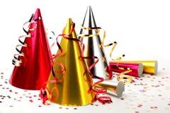 Partyjni kapelusze z streamers Zdjęcie Royalty Free