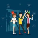 Partyjni karaoke ludzie i odświętność wakacje Obrazy Royalty Free