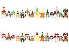 Partyjni koty i psy graniczą set royalty ilustracja