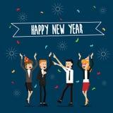 Partyjni ludzie biznesu i szczęśliwi nowy rok odświętności wakacje Zdjęcia Stock
