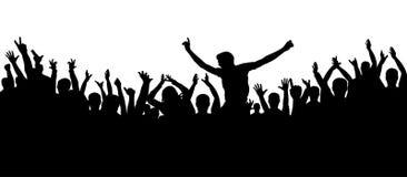 Partyjni ludzie, oklaskują Rozochocony tłum sylwetki tło Fan tana koncert, dyskoteka ilustracji
