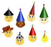 Partyjni oloros smileys w nakrętkach Zdjęcia Royalty Free